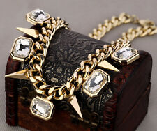 Fashion Punk Rock Jewelry Gold Rivet Chain Diamond Choker Chunky Necklace UK