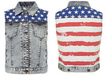 Topshop MOTO Acid American Flag Sleeveless Denim Biker Jacket UK10 EU38 US6 BNWT
