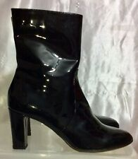 AQUATALIA by Marvin K. Italy Black Patent Leather Zip Ankle Boots Women's Sz 10
