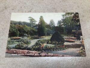 1900s colour postcard . flower garden cyfarthfa park  merthyr tydfil