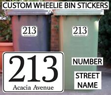 4x WHEELIE BIN NUMBERS STICKERS CUSTOM HOUSE AND ROAD STREET NAME PERSONALISED