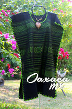 079 Womens Mexican Black and Gree Dress Hand Embroidery Oaxaca Boho Hippie