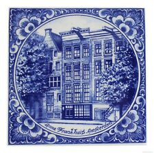 Blue Delft Vintage Ceramic Tile Rare Reproduction Majolica Anne Frank Holland