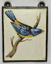 ANTIQUE CAST IRON RELIEF POLYCHROME PAINTED ORNITHOLOGY BIRD WALL PLAQUE HANGING