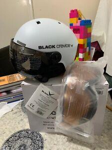 Black Crevice Gstaad Unisex Adult Ski Helmet with Visor, White, Size:S (51-54)