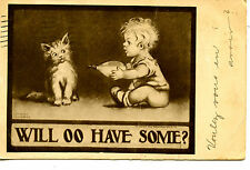 Baby Offers Kitty Cat Milk-Glass Bottle-Gassaway Artist Signed Vintage Postcard