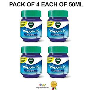 Pack of 4 Vicks Vaporub Ointment Vaporize Blocked Nose 50ML Each Free Shipping