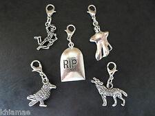 5 x Clip On Halloween Bracelet Charms pagan silver set graveyard ghost raven rip