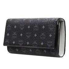 MCM Authentic Color Visetos Long Large Bifold Black Wallet Purse MYL6SVC82BK