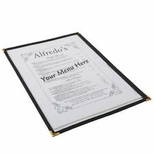 American Style Menu Holder A4 | 2 Sides facing | Black Gold Corners Heavy Duty