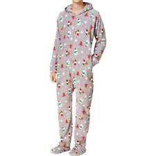 Family PJs Christmas Fleece Men's Happy Gnomes Footie Pajamas Grey, Small #R148