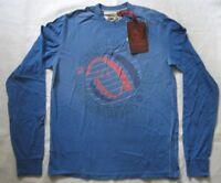SUPERFLY Herrenpullover Blau mit Motiv Gr. L rundhals ohne Kapuze