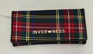 Ladies Inverness 5 colours Tartan Check Classic Long Purse Button Clasp Closure