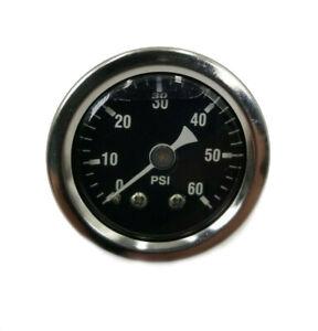 """1-3/8"""" Liquid Filled 60 PSI Oil Pressure Gauge 1/8"""" MPT for Harley"""