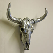 Buffalo Skull Wall Hanging Sculpture Silver Resin Home Decor Cow Ornament Gift