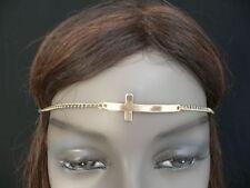 Women Girls Gold Metal Cross Head Band Chain Religious Circlet Fashion Jewelry