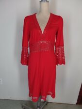 Victoria's Secret Moda Int'l True Red Jersey Crochet Inserts Empire Dress   L