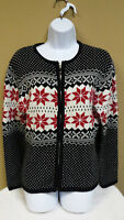 Women's Winter Zip-Up Sweater, Size M, Snowflakes