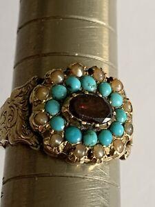 Rare Fine Victorian 15ct Gold Garnet Turquoise & Seed Pearl Secret Locket Ring