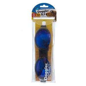 Doggles Ils Noir Cadre & Miroir Bleu Lentille Eye Protection Soleil Chiens