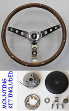 "New! 1965 - 1969 Mustang Real Wood Grip Steering Wheel Grant 15"" Chrome Spokes"
