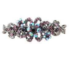Anthony David Purple Crystal Silver Metal Floral Style Small Hair Clip Barrette