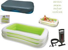 INTEX rettangolare di grandi dimensioni famiglia Paddling Nuoto pool + PUMP & Cover