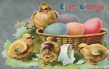 SIlver Metallic Chicks Hatching From Easter Eggs Easter Greetings Postcard