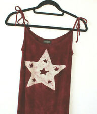 Religion Maxi Dress Tie Dye Red Star Motif Hippy 90s Grunge Crinkle Size Small