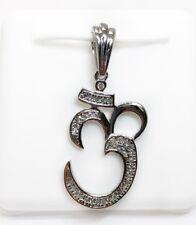 10K White Gold Diamond Hindu Yoga Om AUM Symbol Yugist Chanting Mantra Pendant