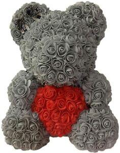 Ours En Rose Artificiel Éternel Cadeau  40 cm Gris avec Coeur Rouge