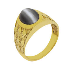 10K Yellow Gold Chalcedony Mens Ring Size 8