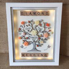 LED BOX FRAME SCRABBLE GOLDEN SILVER DIAMOND PEARL 50th WEDDING ANNIVERSARY GIFT