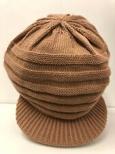"LIGHT TAN KNITTED HAT WITH 2"" PEAK 10 "" LENGTH REGGAE ROOTS RASTA"