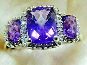 Diamond & Amethyst 10 k White Gold Ring &  3.2 gr Size 8