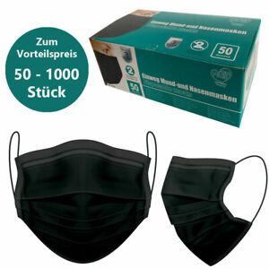 Gesicht-Atem-Schutz-Masken OP Mundschutzmaske 3 Lagig Einwegmaske Schwarze-Maske