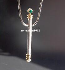 Einzelstück * Kette mit Smaragd Brillant Anhänger * 925 Silber * 750 Gold