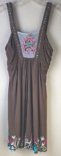 Krista Lee Womens Dress Small Brown Sundress With Embroidery Beading NWT $122