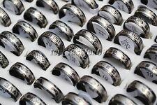 12pcs Wholesale Lots Black Arc Mixed Pattern Men's Stainless Steel Rings FREE