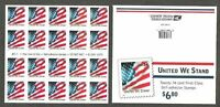 United We Stand #3549a Convertible Booklet Pane Pl #2222 (2001) Unfolded