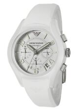 EMPORIO ARMANI WHITE SILICONE,RUBBER BAND,WHITE CERAMIC CASE WATCH AR1431