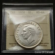 1938 Canada $1 Silver Dollar - ICCS MS-64 - Blast White Stunner! #coinsofcanada