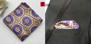Hanky Pocket Square Silver Blue Green Yellow Brown Black Patterned Handkerchief