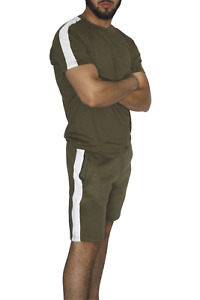 Mens Tracksuit Sets Striped Sportswear Short Sleeve Top and Shorts for Summer