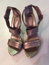 Aldo Pewter High Heel Strapping Sandals Shoe Ladies Size 8