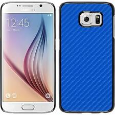 Hardcase for Samsung Galaxy S6 carbon optics blue Cover + protective foils