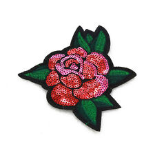 1PCS DIY Embroidered patches for clothes Sequin Rose flowers Iron-on Appliques