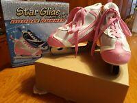 Star Glide Double Runner Girls Ice Skates - Size 13J Preowned