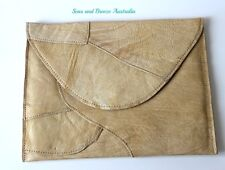 Genuine buttery leather Patchwork envelope clutch for women