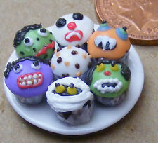 1:12 Scale 7 Assorted Cup Cakes Fixed On A Ceramic Plate Tumdee Dolls House CC13
